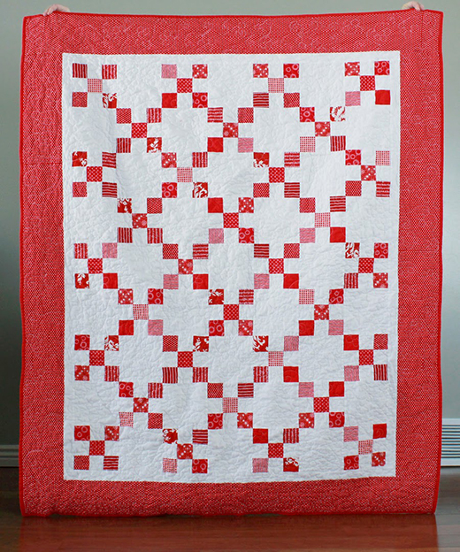 Red and White Irish Chain Quilt Free Pattern designed By Andy Knowlton of a Bright Corner