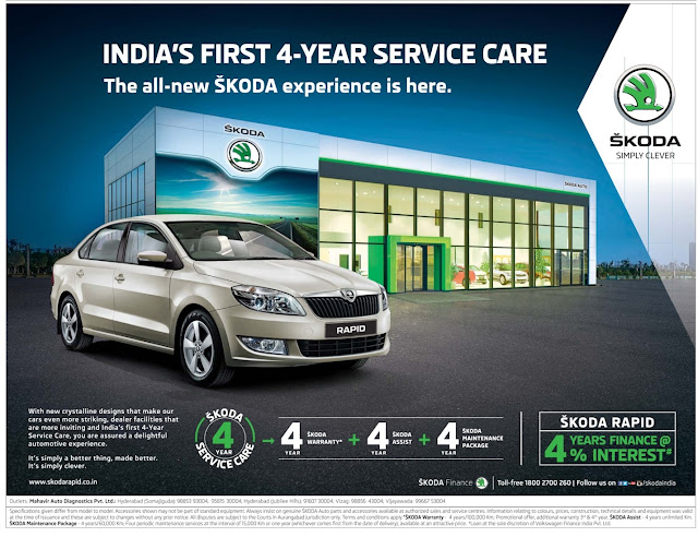 Skoda rapid | India's first 4 year service care | September 2016 discount offer | Festival offer