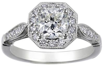 18K White Gold Victorian Halo Diamond Ring