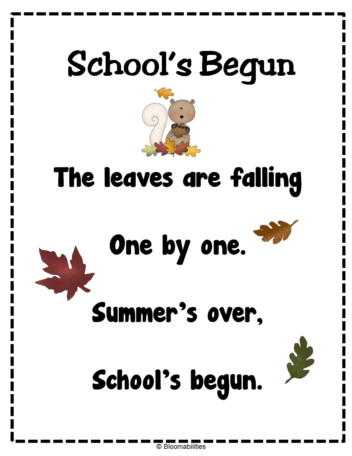 First Grade Bloomabilities: Freebie Poems for Beginning of