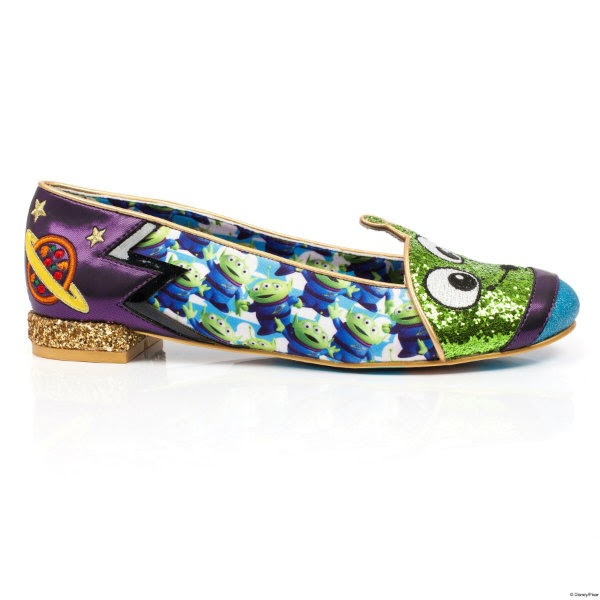 side view of single shoe in purple metallic with Toy Story alien printed material and glitter alien front