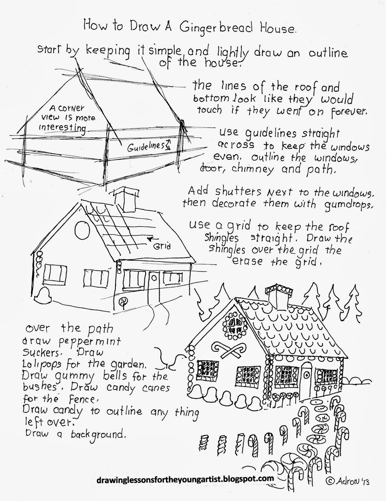 How To Draw Worksheets For The Young Artist How To Draw A Gingerbread House For Christmas