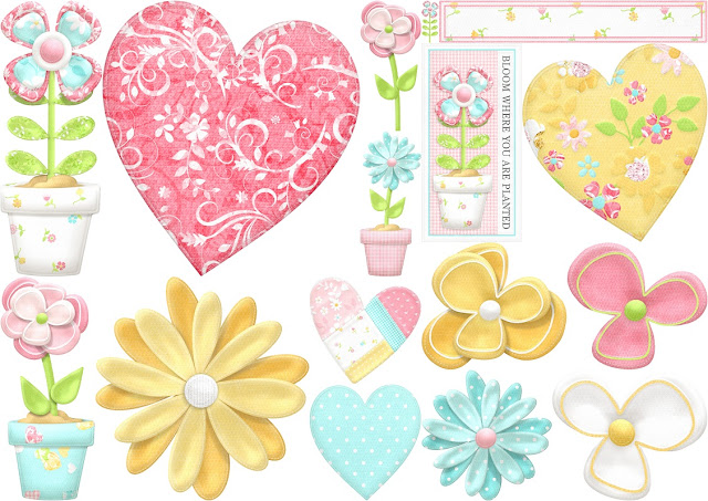 Flowers and Hearts of  the Sweet Spring Clip Art.