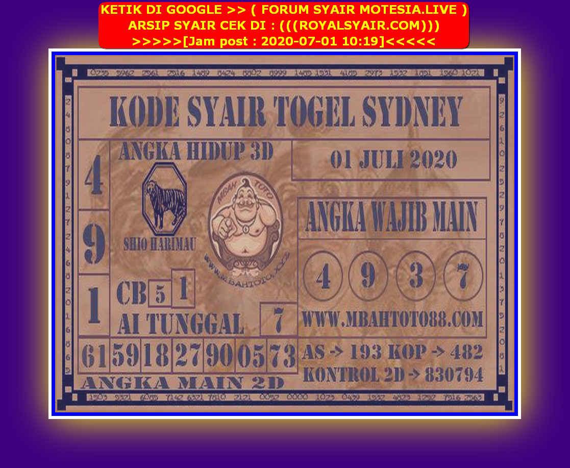 Kode syair Sydney Rabu 1 Juli 2020 151