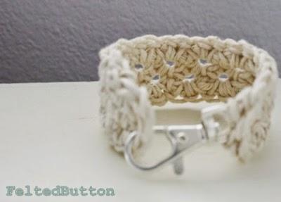 Brazalete con mosqueton de crochet, tutorial
