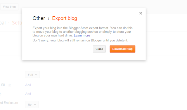 Import Blog and Export Blog in Blogger