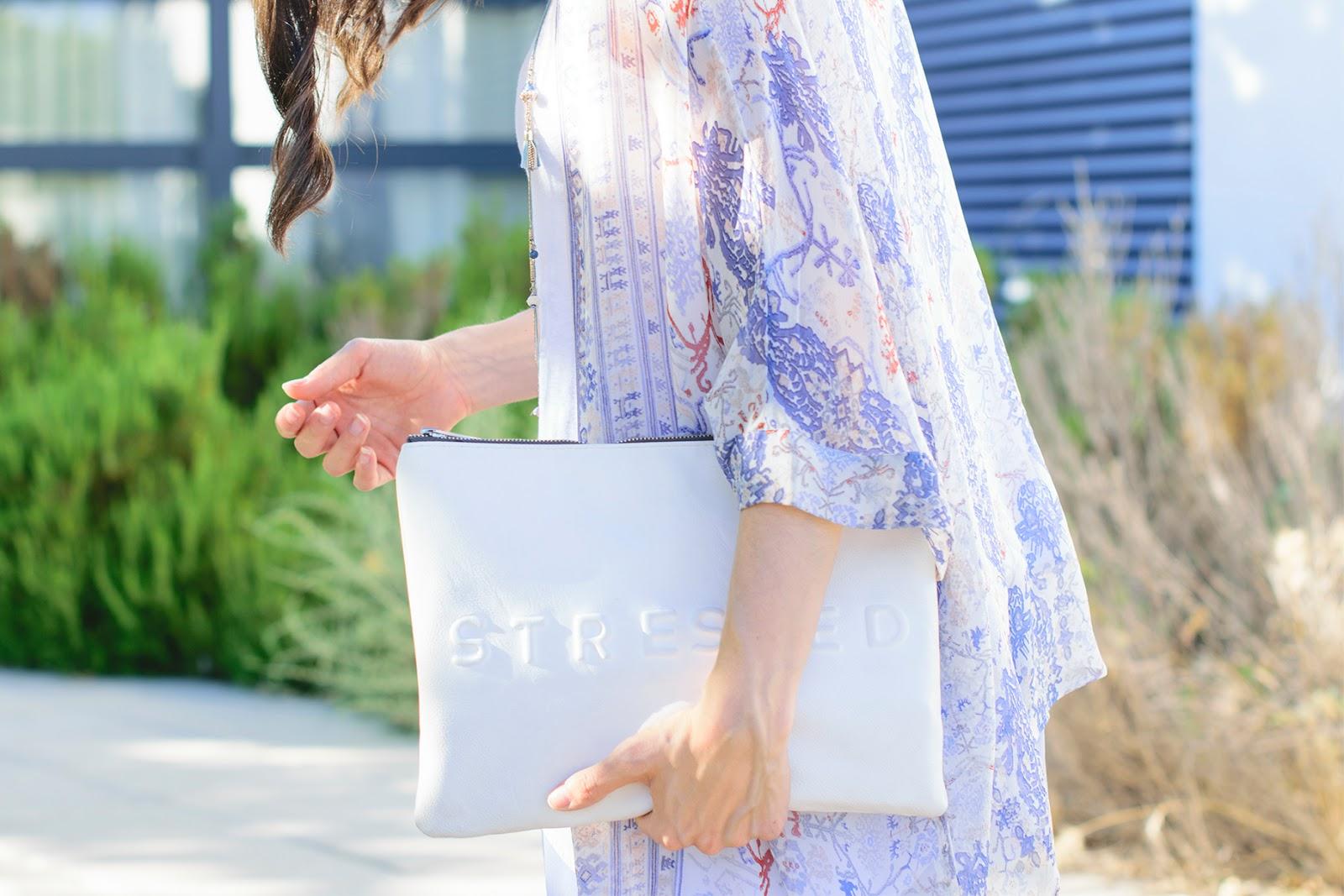 Look con Kimono de Massimo Dutti en azul bebé