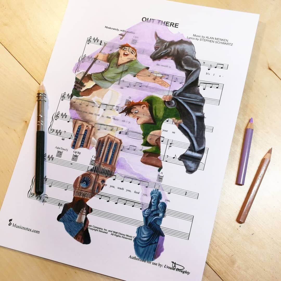 04-Notre-Dame-U-Doughty-Movie-Character-Drawings-on-Music-Sheets-www-designstack-co