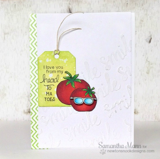 Funny Tomato card by Samantha Mann | Vegetable Garden stamp set by Newton's Nook Designs #newtonsnook