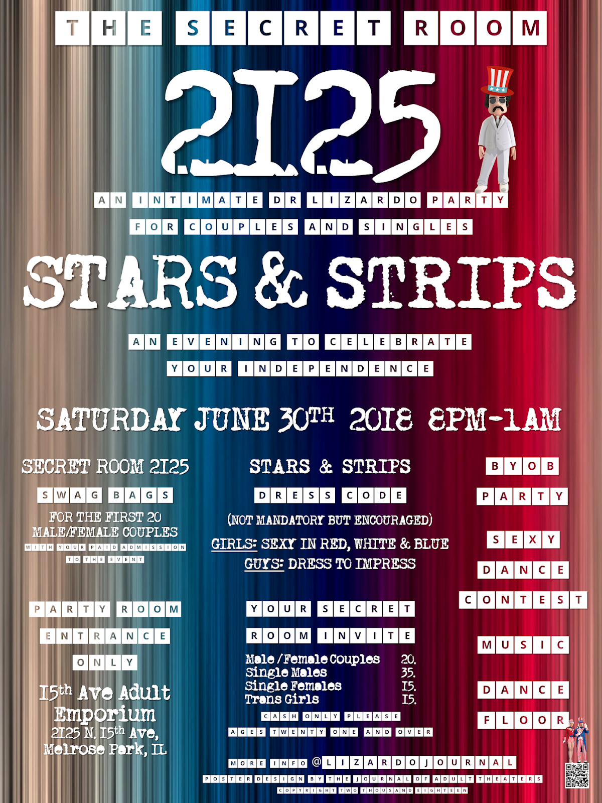 The Secret Room 2125: Stars & Strips at 15th Ave. Adult Theater Party Room in Chicago!