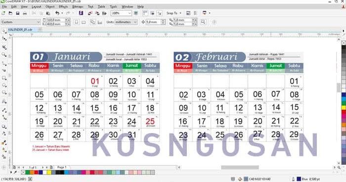 Desain Kalender Vektor / 2021 Desain Template Kalender ...
