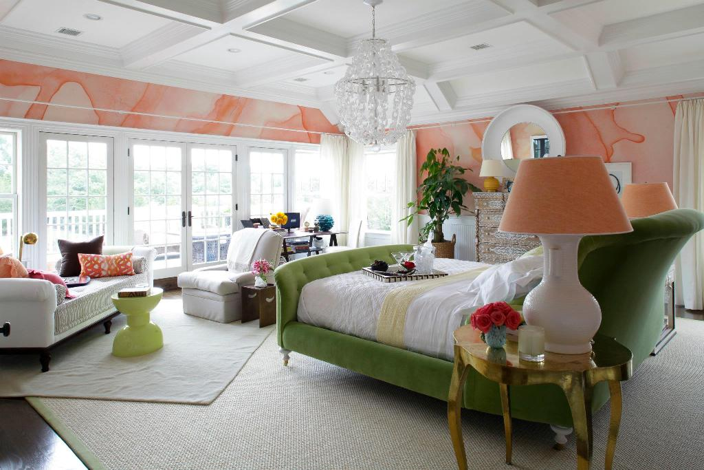 robert passal bedroom design green and coral