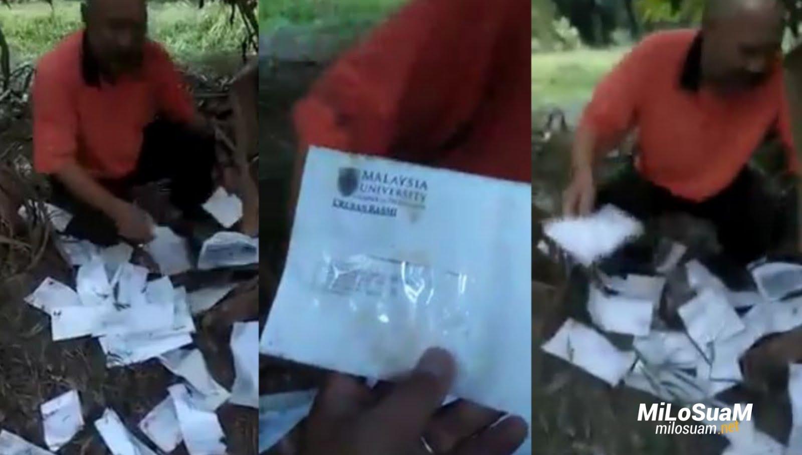 Posmen buang surat dalam kebun