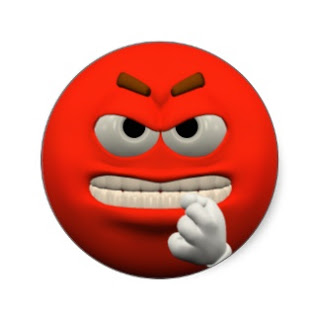 Red Angry Smiley showing hand