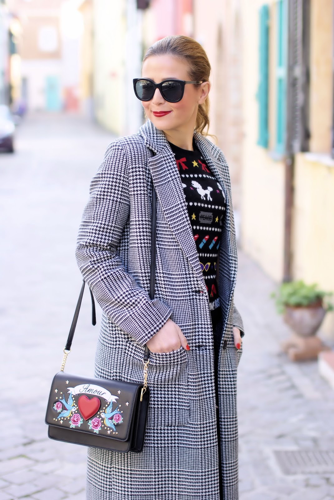 Last call for a Prince of Wales maxi coat: street style look on Fashion and Cookies fashion blog, fashion blogger style