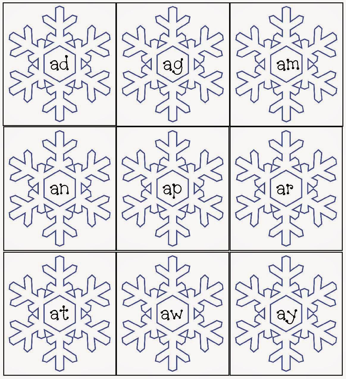 Classroom Freebies Snowflake Word Famiies Packet