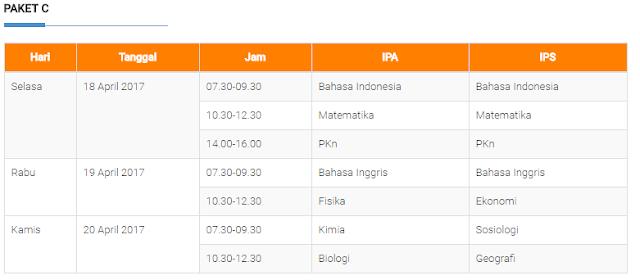 Jadwal UNP Paket C
