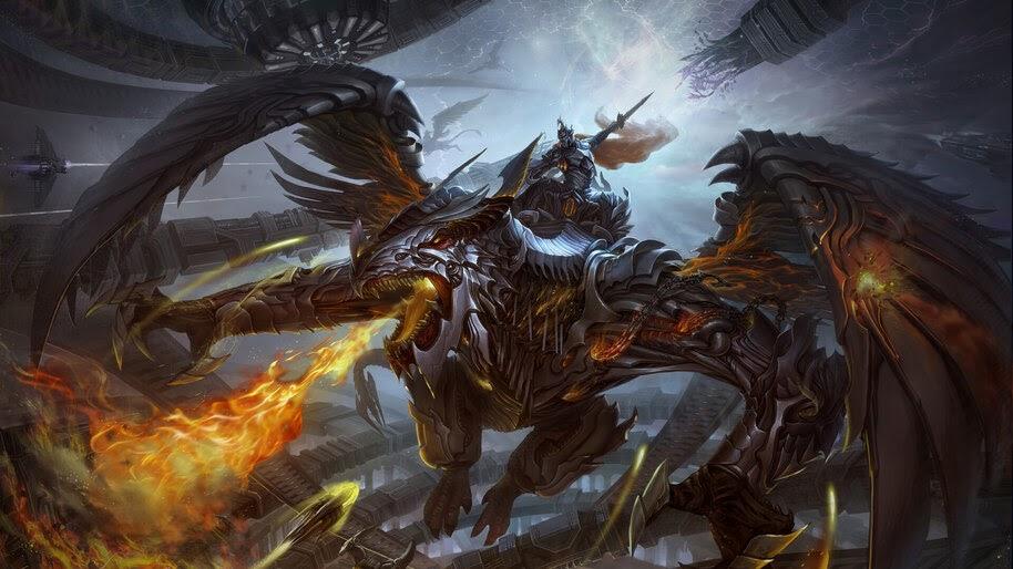 Dragon, Warrior, Mech, Fantasy, Sci-Fi, 4K, #4.985