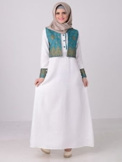 Desain Long Dress Batik Kombinasi