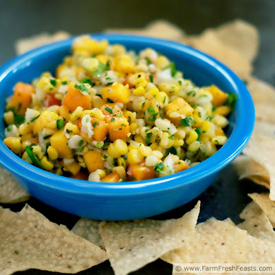 pic of fresh peach and corn salsa tossed with sweet onion, jalapeño, and lime