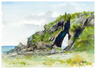 水彩スケッチ ミーフガー Watercolor sketch  Mifuga Rock