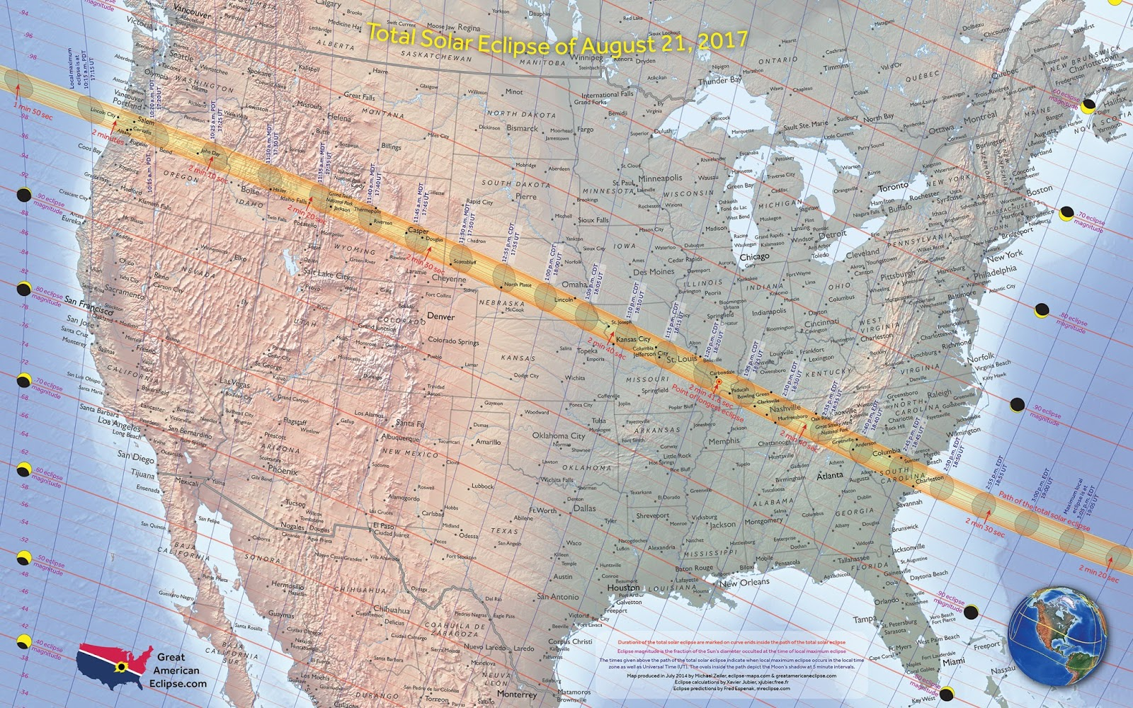 Map of the path of the total solar eclipse over the United States (August 21st, 2017) - Vivid Maps