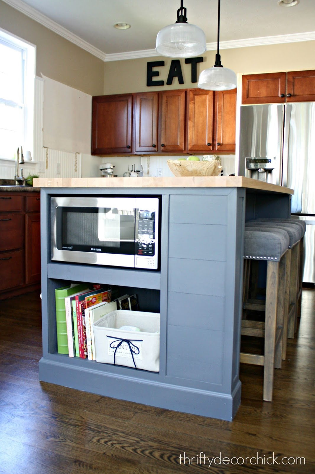 Microwave in the island finally from thrifty decor chick for Built in kitchen islands