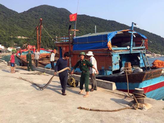 BP 430601 đã lai dắt tàu bị nạn vào đảo Cù Lao Chàm an toàn.
