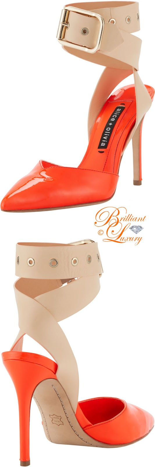 Brilliant Luxury ♦ Alice+Olivia Rachelle Patent two-tone pumps #orange