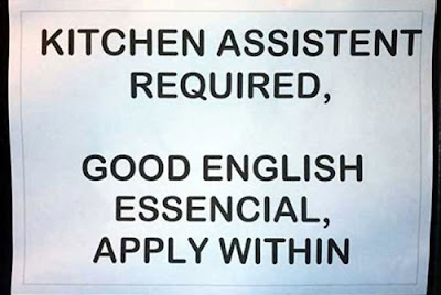 Funny Signs kitchen assisstant required english essencial