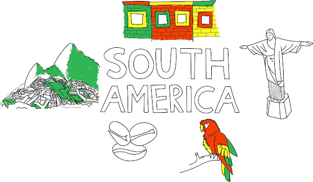 South America illustration with colourful buildings in Buenos Aires, rio statue, parrot, coffee beans and machu pichu