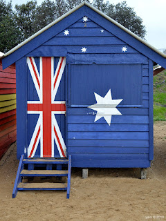 australia flag beach hut