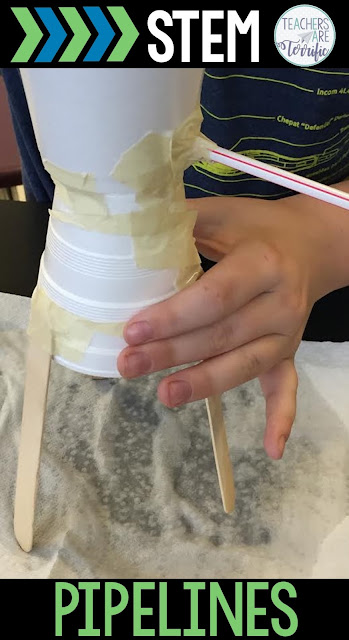 STEM Challenges for elementary students! Students will learn about the need for water pipelines in certain places and then try to build one themselves. The pipeline must connect a full water tank to a lower reservoir and then transport water along the entire line. Can they stop those leaking places? They will build, test it, and make immediate repairs. They will cheer when the water makes it the whole way! This STEM resource includes detailed teacher directions, photos, and lab sheets.