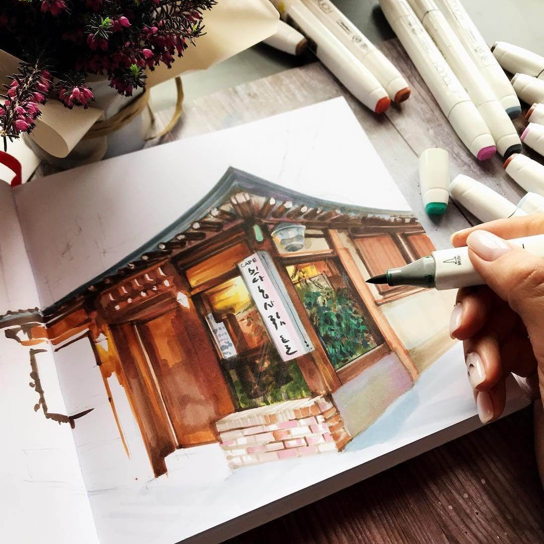 08-Japanese-Restaurant-Katerina-Brovka-Architecture-in-Bright-Color-Drawings-www-designstack-co