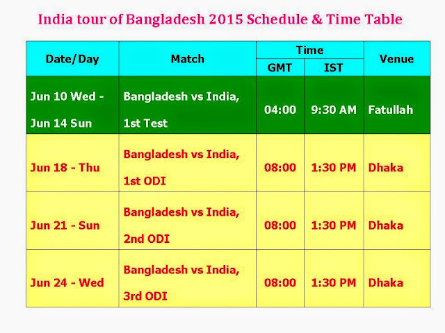 India tour of Bangladesh 2015 Schedule & Time Table,India Vs. Bangaldesh Series 2015,ind vs. Ban series fixture,India vs. Bangladesh 2015 schedule,India vs. Bangladesh 2015 time table,India vs. Bangladesh 2015 match timming,India vs. Bangladesh 2015 series,cricket,india in Bangaldesh,ODI,Bangladesh (Country),India (Country),ICC,cricket tournament,1 test,3 ODI,GMT,IST,date/day,match detail,india vs. bangaldesh series 2015,schedule,fixture,time table