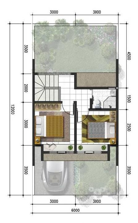 Denah rumah minimalis ukuran 6x12 meter 2 kamar tidur 2 lantai