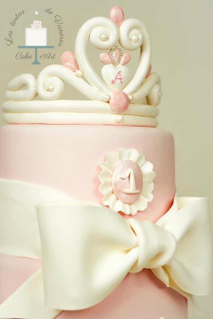 Tarta de fondant rosa princesa