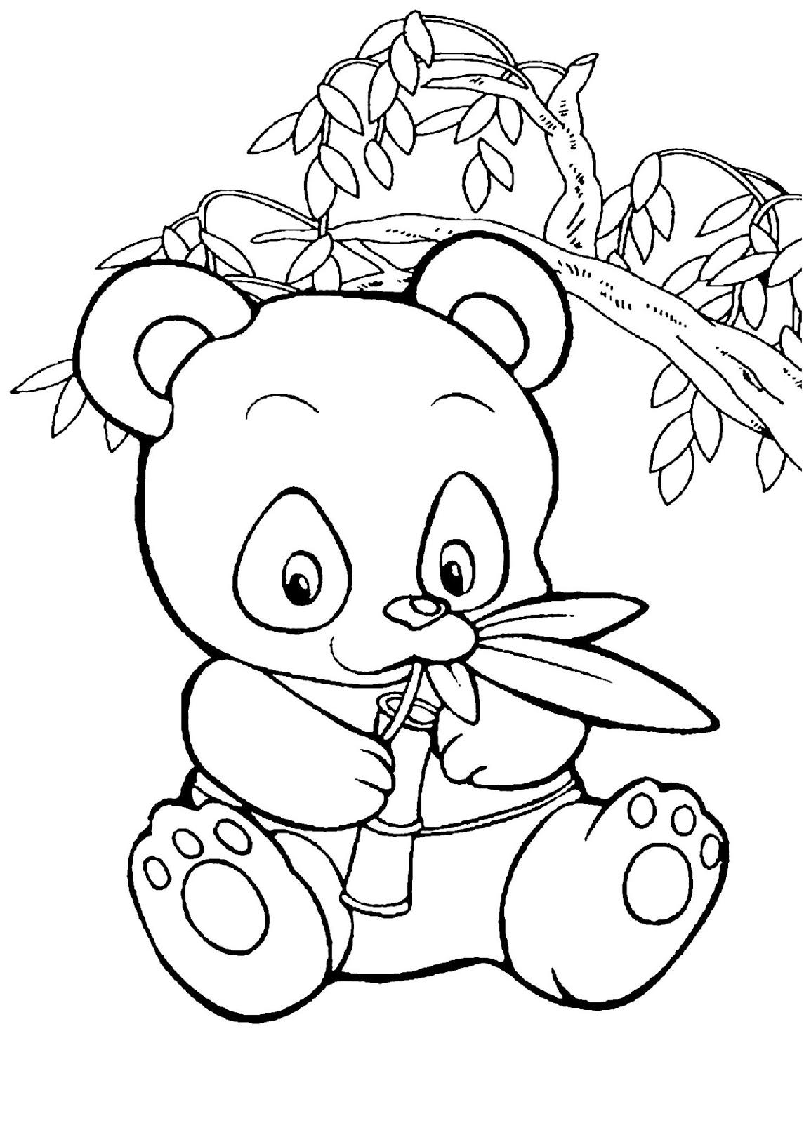 Tranh tô màu con gấu trúc đang ăn lá