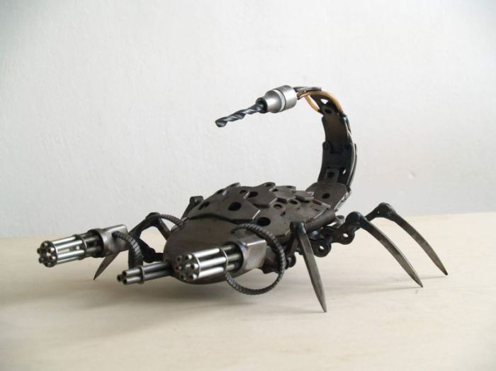 Steampunk Sculptures From Old Car And Motorcycle Parts Art Craft