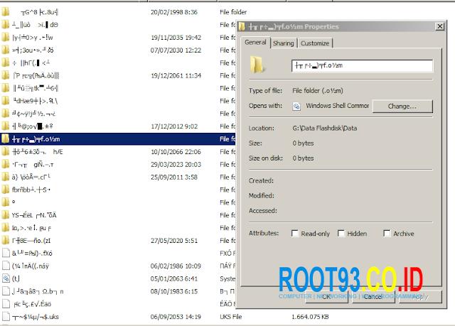 Folder di flashdisk jadi karakter aneh dengan kapasitas 0 bytes