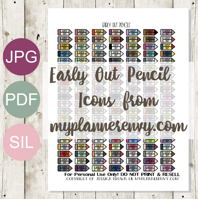 Free Printable Early Out Pencil Icons from myplannerenvy.com
