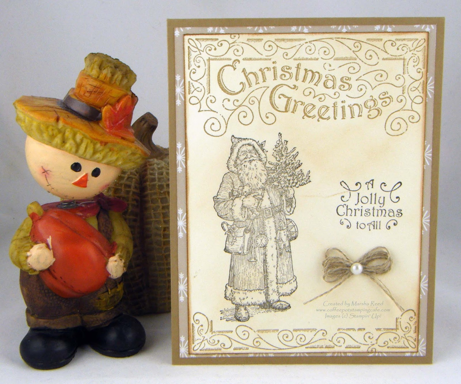 Coffee Pot Stamping Cafe Christmas Greetings