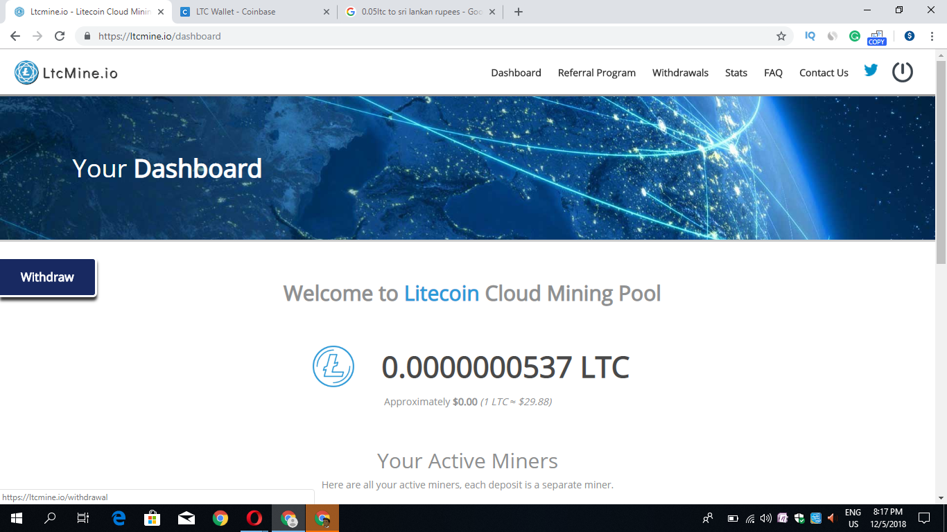 Earn upto 0 45LTC Per day no investment plan ltcmine