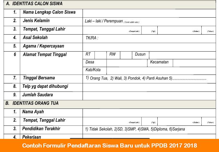 Contoh Formulir Pendaftaran Siswa Baru Untuk Ppdb 2017 2018