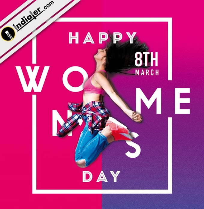 8 march Happy Women's Day Greetings Card Free PSD