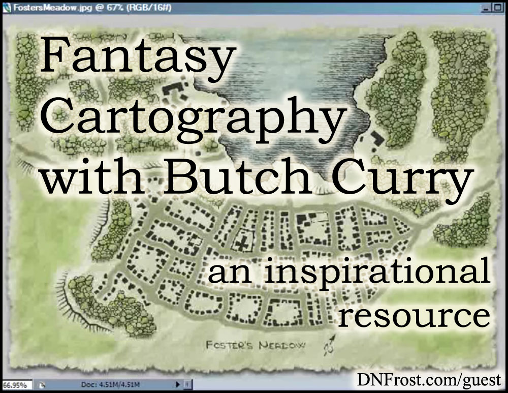 Fantasy Cartography with Butch Curry: tutorials for Photoshop http://www.dnfrost.com/2016/11/fantasy-cartography-with-butch-curry.html An inspirational resource by D.N.Frost @DNFrost13 Part of a series.