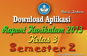 Download Aplikasi Raport K13 / Kurikulum 2013 SD Kelas 3 Semester 2 Revisi Terbaru