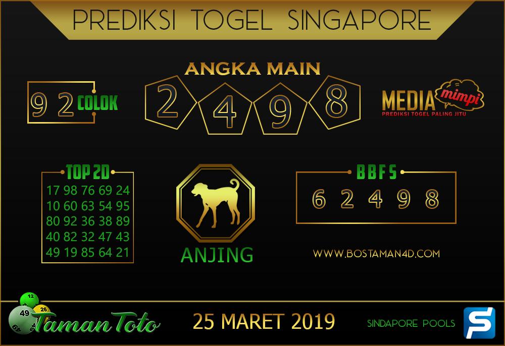 Prediksi Togel SINGAPORE TAMAN TOTO 25 MARET 2019