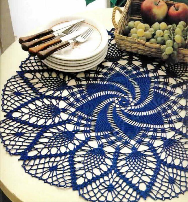 Doily Tablecloth - Large Doily pineapple doily crochet pattern blue
