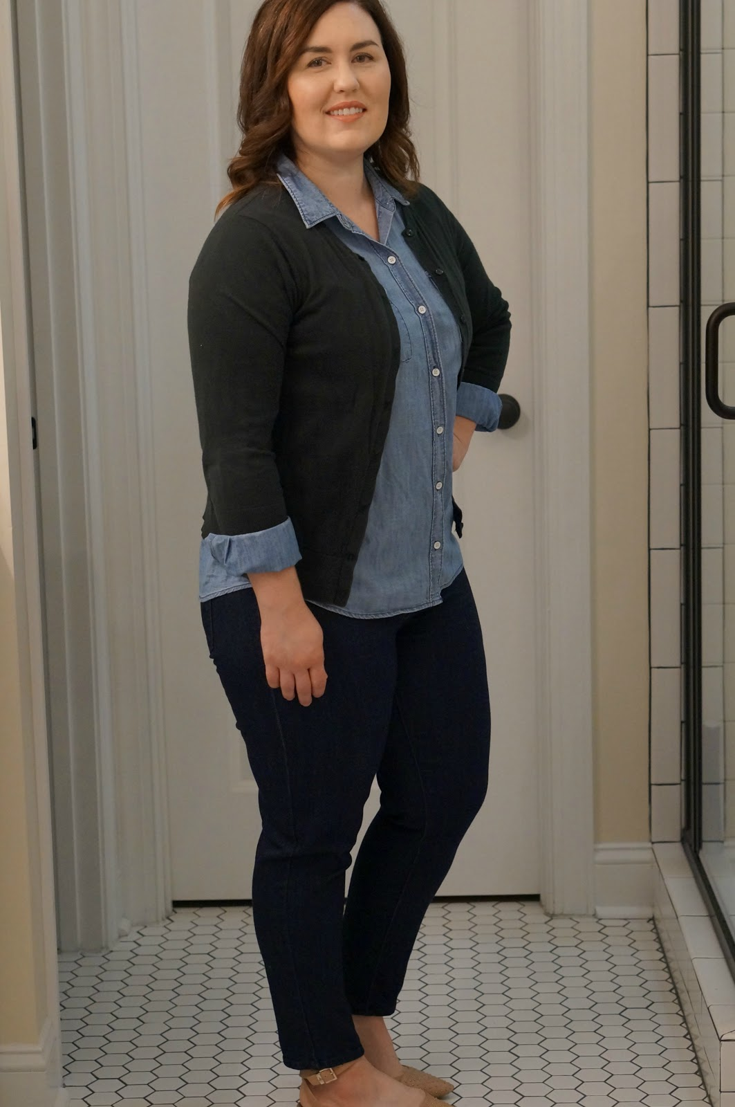 Rebecca Lately Fall Uniform Chambray Cardigan Skinny Ankle Pants Pointy flats
